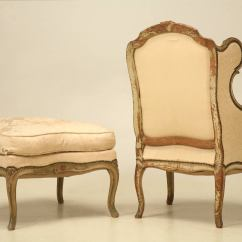 French Bergere Chair And Ottoman Kid Camping Louis Xv Style Antique In