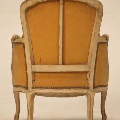 French Louis Chair Fake Rail Antique Xv Style Bergere In Old Paint