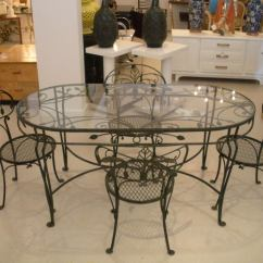 Vintage Wrought Iron Table And Chairs Gray Chair Slipcover Salterini Dining At