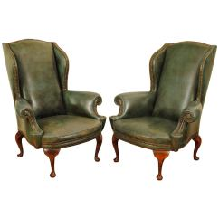 Queen Anne Wing Chair Recliner Rail Beadboard Paneling Pair Of Italian Style Walnut And Leather
