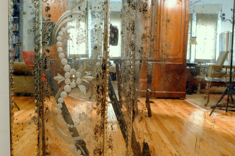 An Antique Glass Elongated Octagonal Etched and Bevelled Venetian Mirror at 1stdibs