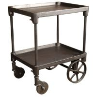 Vintage Industrial Two Tier Cast iron Rolling Bar Cart
