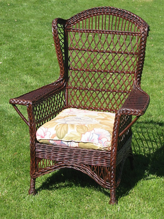 Bar Harbor Wicker Wingback Chair at 1stdibs
