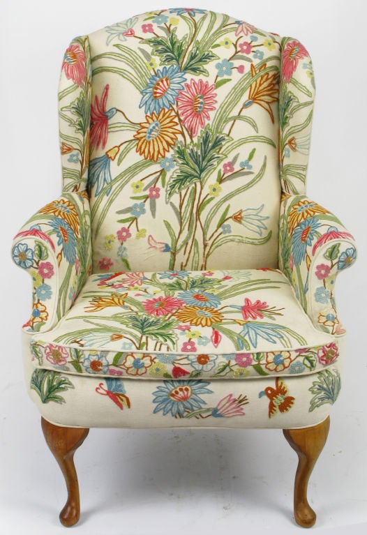 teal wingback chair swivel online india colorful floral wool crewel upholstered wing at 1stdibs