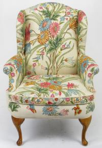 Colorful Floral Wool Crewel Upholstered Wing Chair at 1stdibs