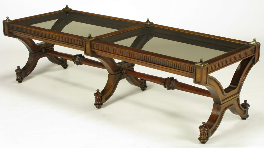 Mahogany And Glass Empire Style Coffee Table With Brass