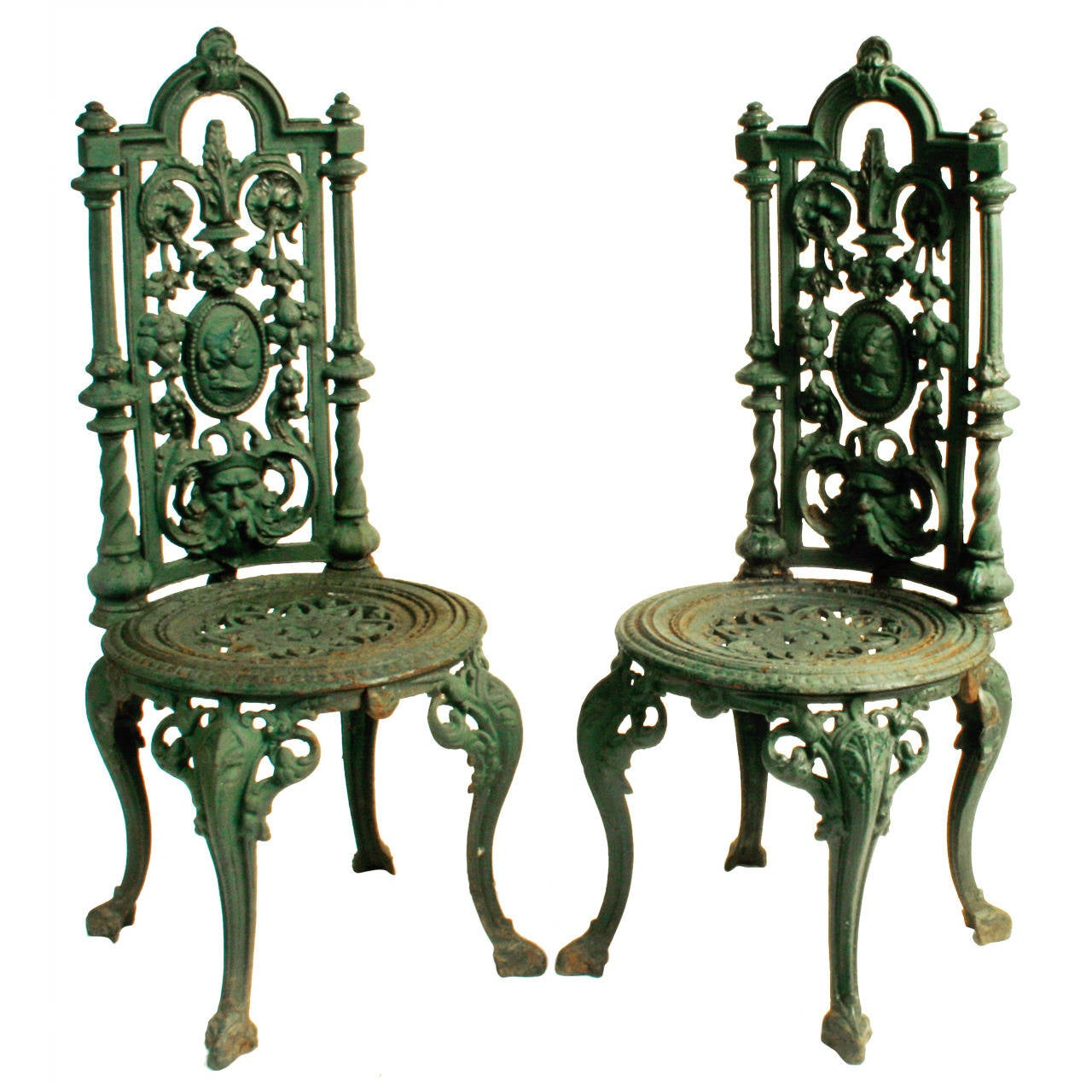 cast iron outdoor chairs avengers table and pair of victorian garden c1880 at 1stdibs