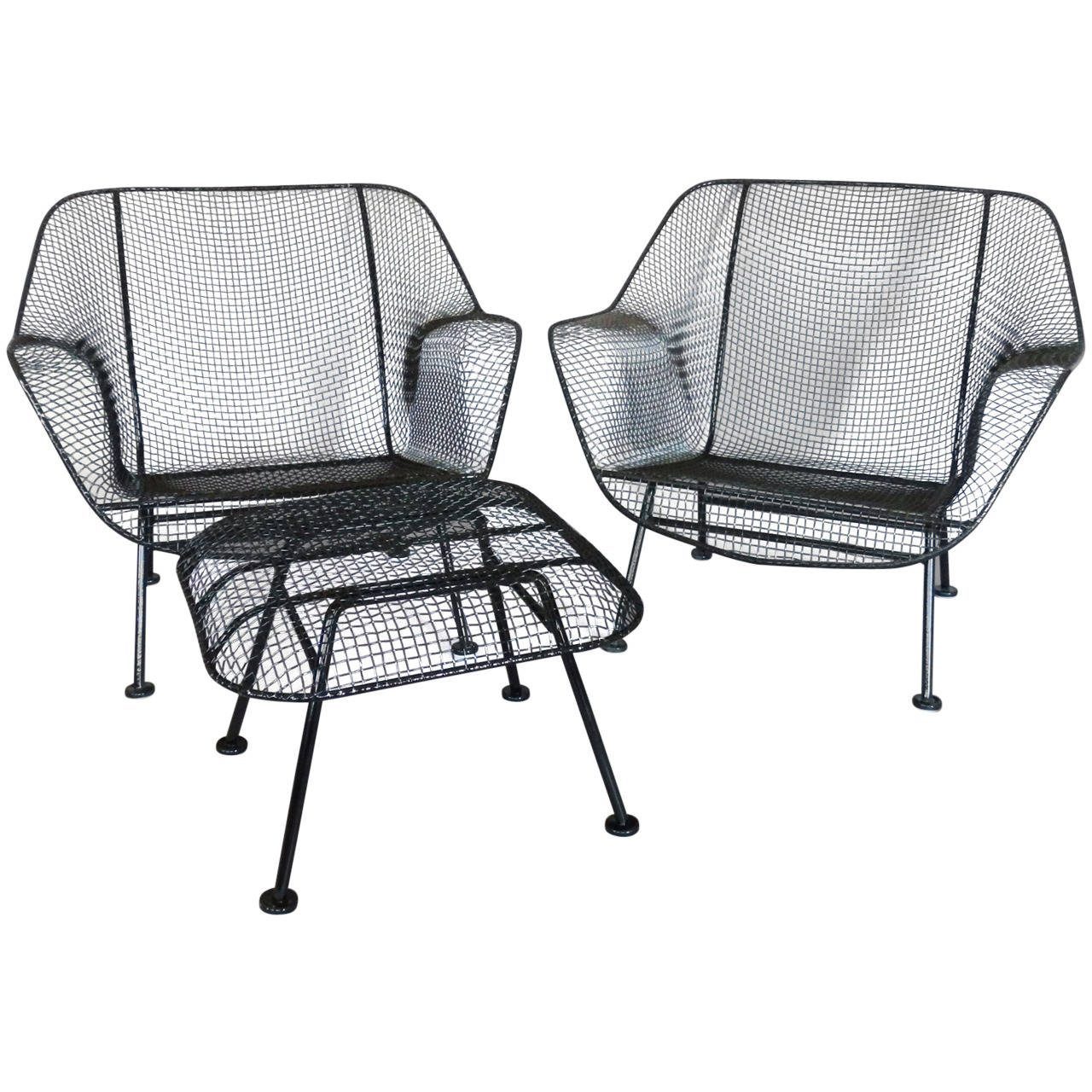 iron chaise lounge chairs hammock sling with chair pad pair of woodard wrought mesh at