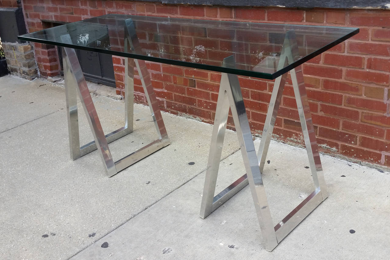 horse sofa table sleeper katy tx aluminum saw leg console or desk at 1stdibs