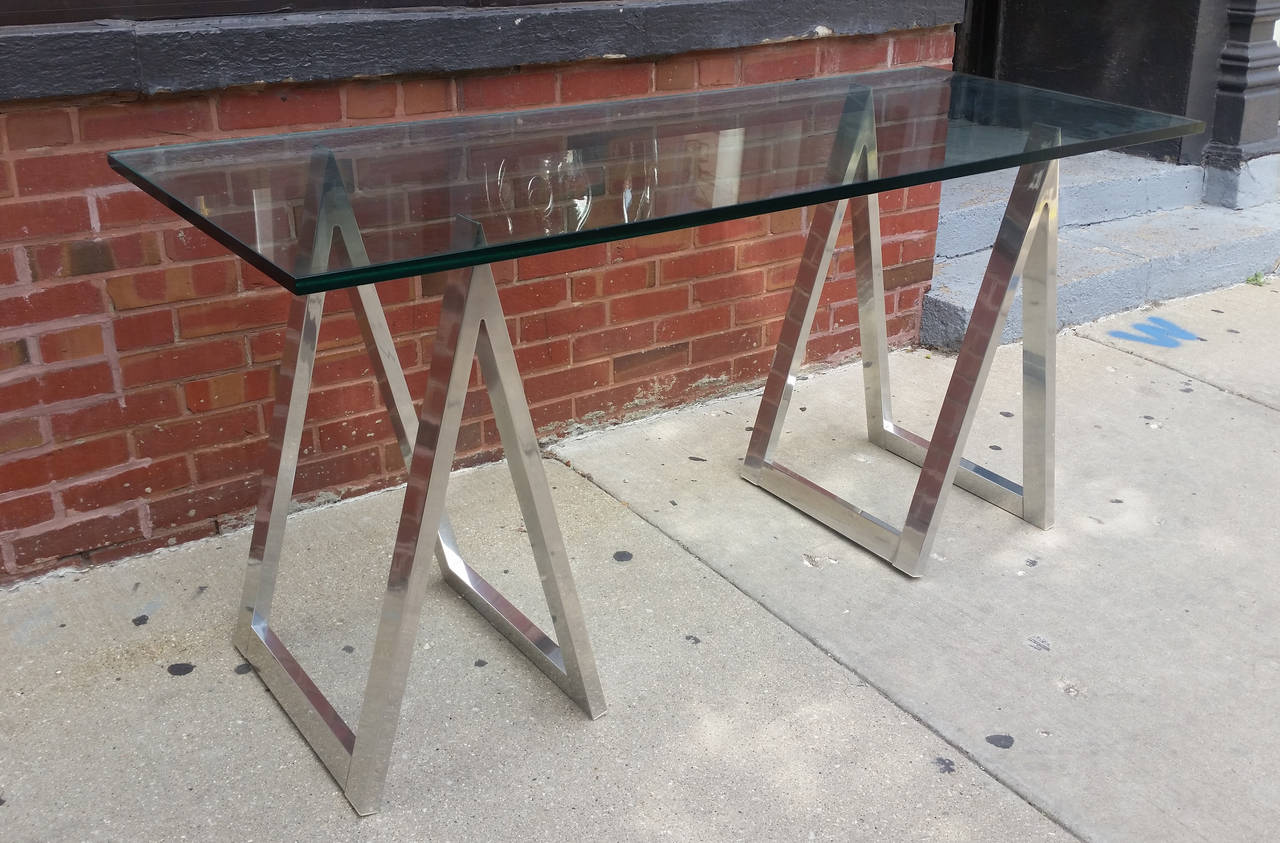 horse sofa table kivik bed size aluminum saw leg console or desk at 1stdibs