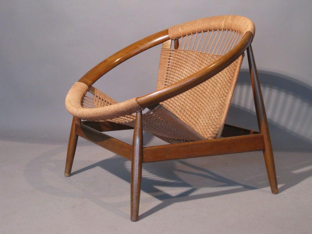 circular lounge chair sleeper sofa danish hardwood and rope at 1stdibs