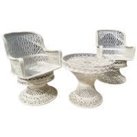 1960s Spun Fiberglass Outdoor Swivel Chairs and Tray Table