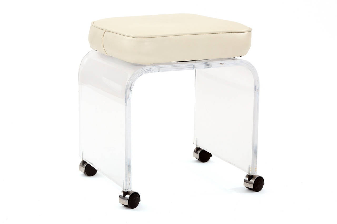 Modern Vanity Chair Lucite Swivel Vanity Stool At 1stdibs