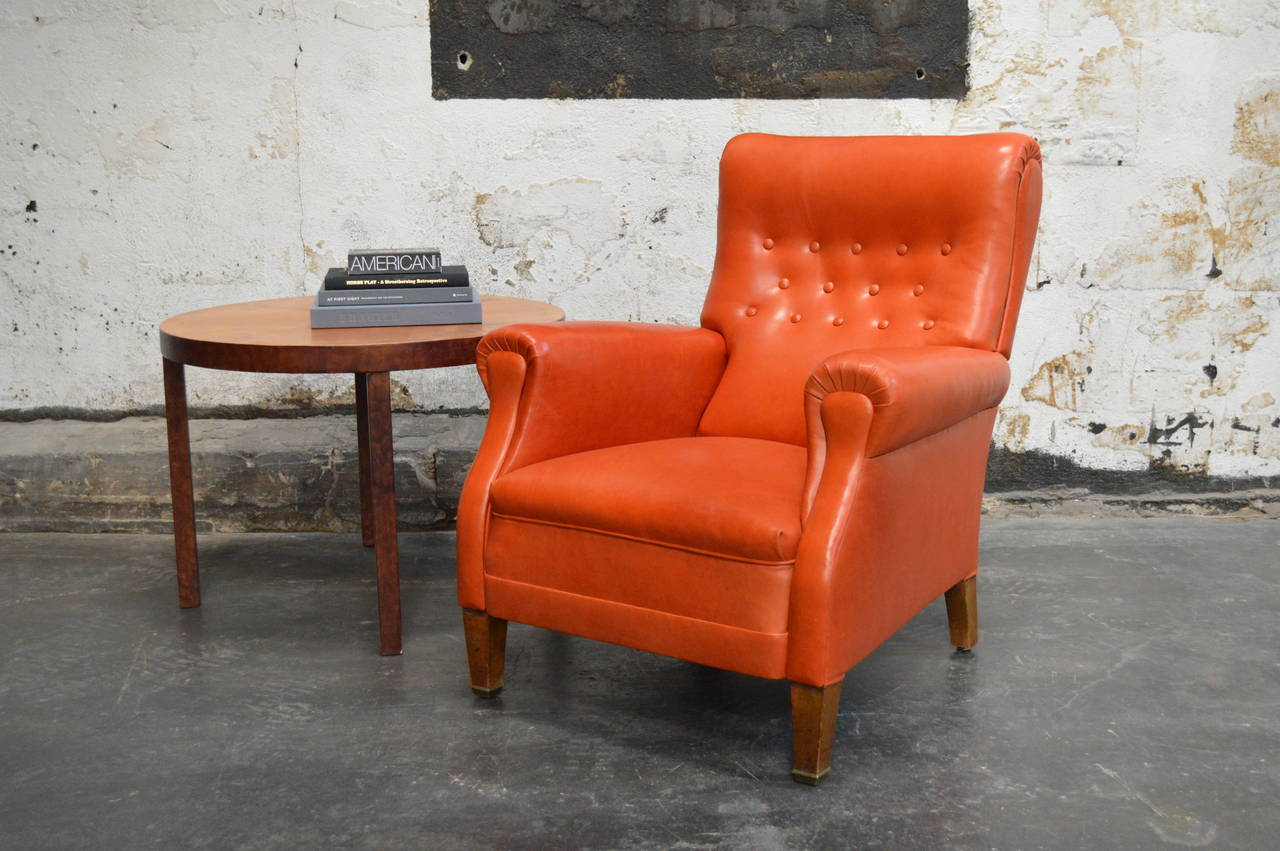 orange leather chairs power chairside end table canada vintage swedish lounge chair at 1stdibs