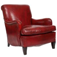 Comfy, Vintage Red Leather Club or Armchair at 1stdibs