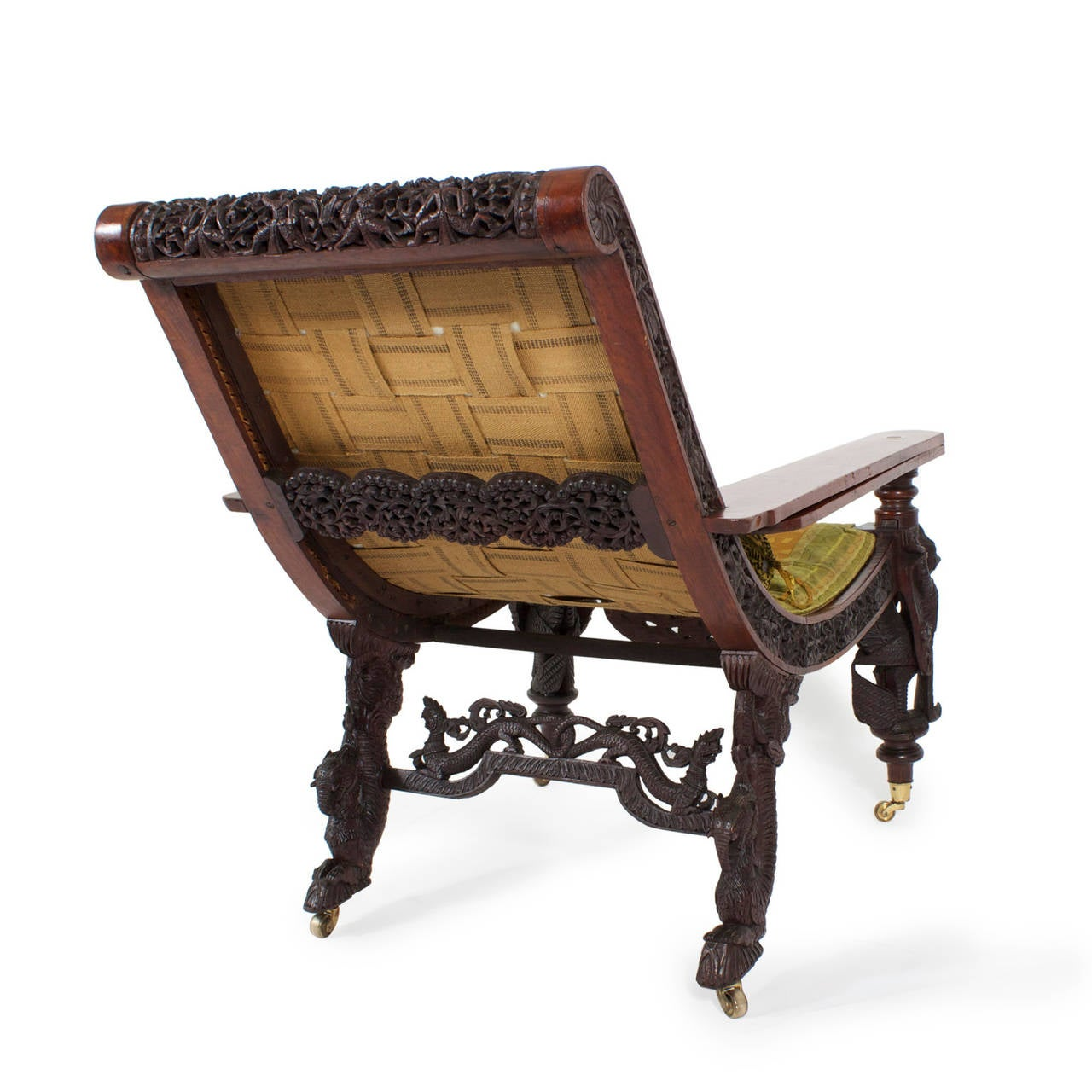 chair with leg rest india office for gaming 19th century anglo-indian carved plantation or planters at 1stdibs