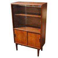 Mid Century Teak China Display Cabinet Bookcase at 1stdibs