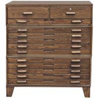 Thirteen Drawer Oak Flat File Cabinet On Legs at 1stdibs