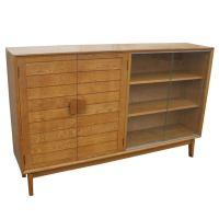 Mid Century Oak China Display Cabinet at 1stdibs