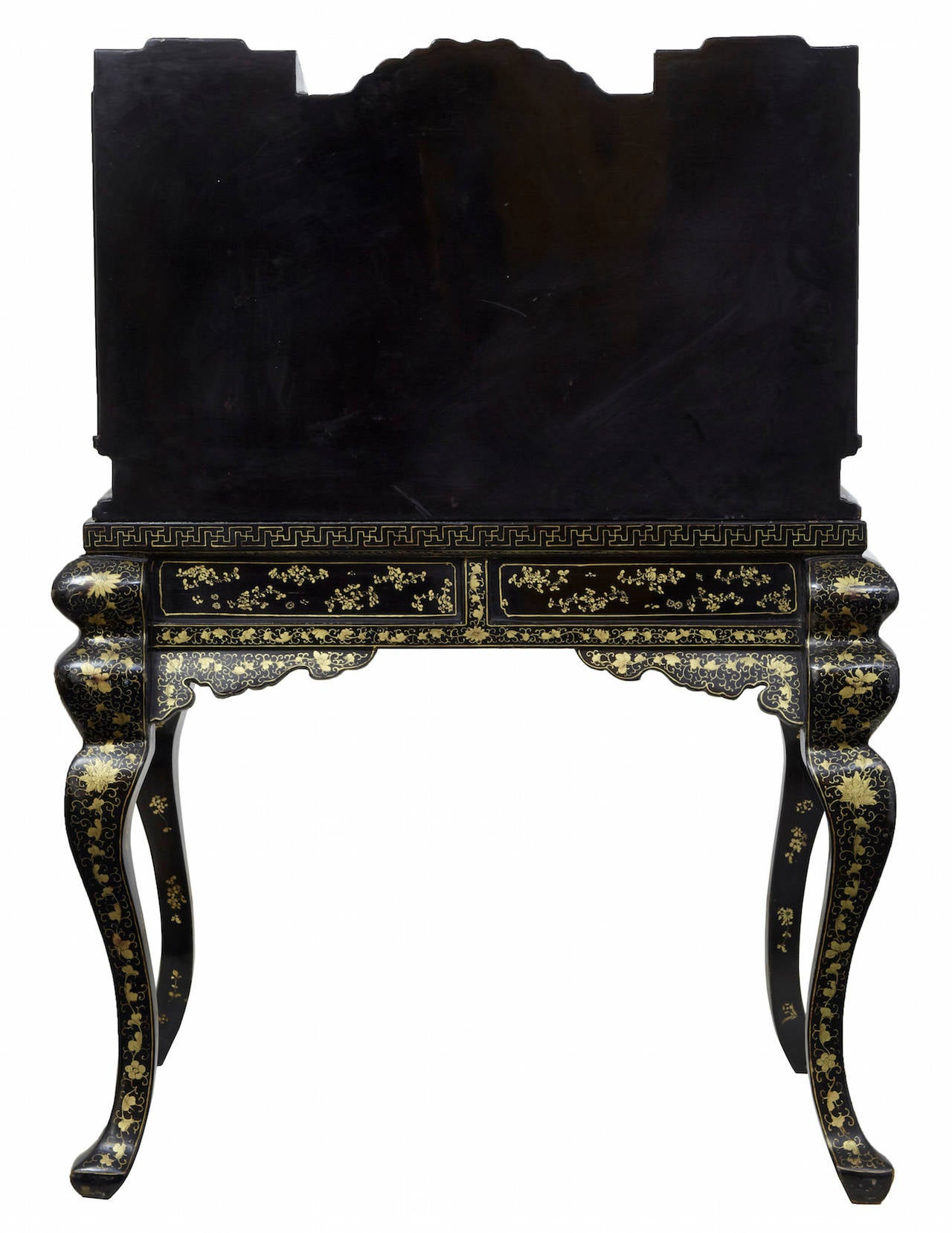 desk chair gold mesh ergonomic office 1920s oriental black lacquered and decorated