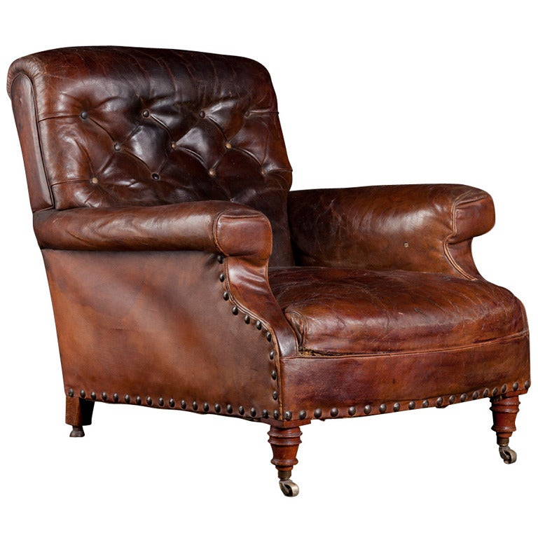 Leather Library Chair at 1stdibs