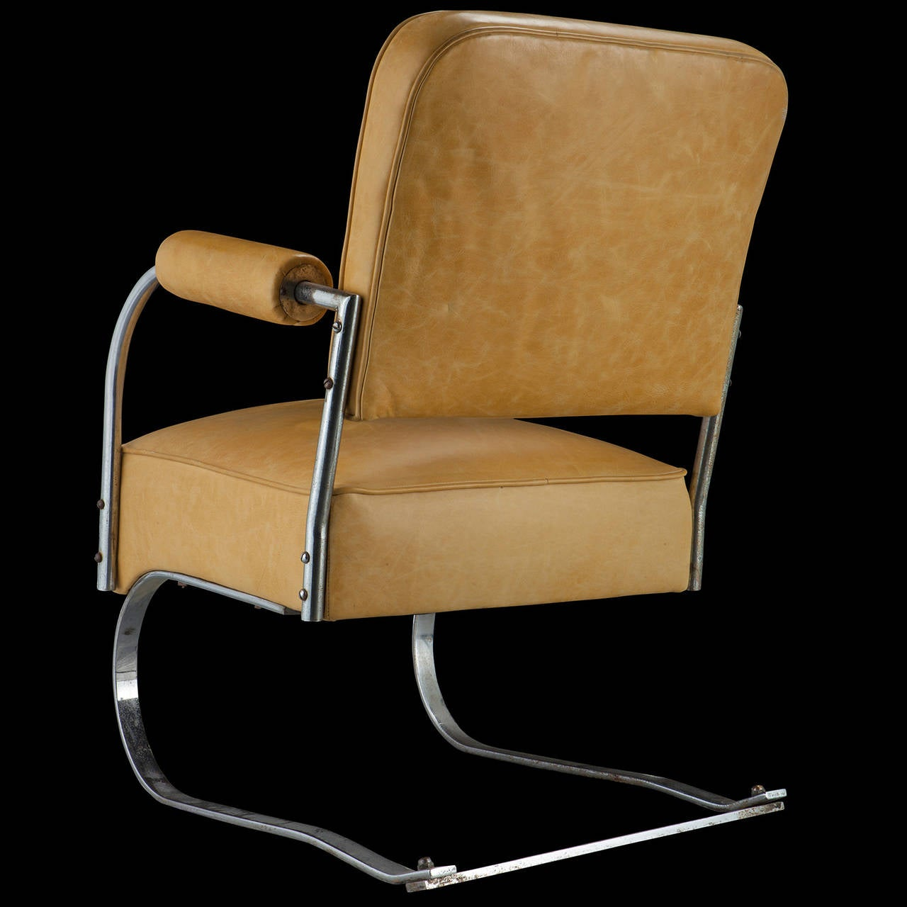 leather and chrome chairs chair design in karachi yellow cantilever image 4