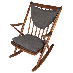 Danish Modern Rocking Chair Swivel View 1950s Teak By Frank Reenskaug