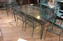 Vintage 1950s Wrought Iron Garden Set With Two Tables And