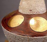 Modern Lava Glaze Ceramic and Gold Leaf Table Lamp at 1stdibs