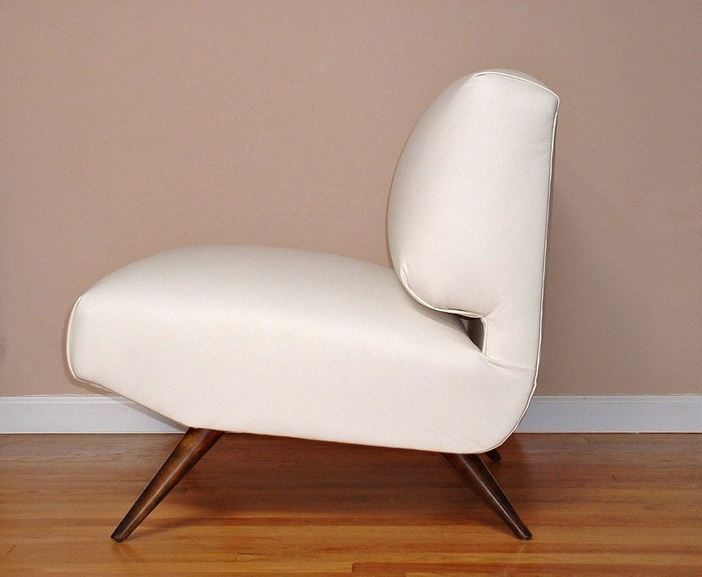 emil leather slipper chair armchair slipcover diy a mid century in kravet at 1stdibs