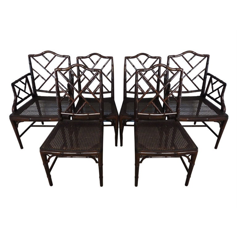 Set of 6 Faux Bamboo Chinese Chippendale Chairs at 1stdibs