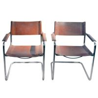 Pair of Leather Chairs Armchairs with Tubular Metal Frame ...