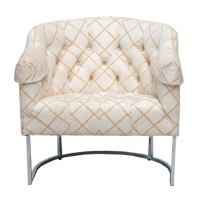 Mid-Century Tufted Tub Chair by Milo Baughman at 1stdibs