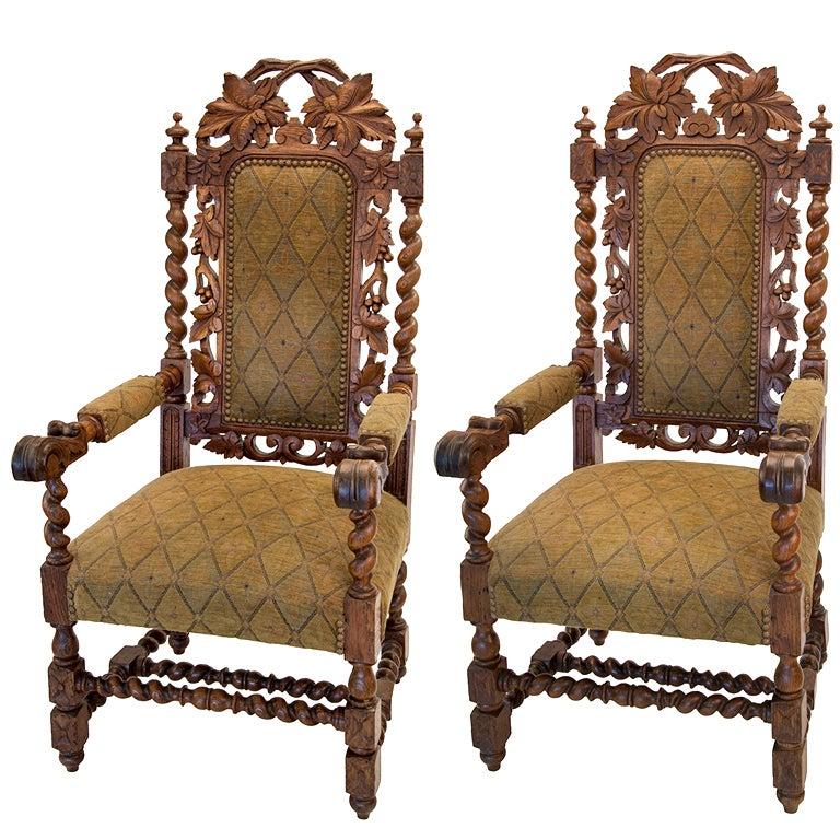 Jacobean Oak Leaf Chairs at 1stdibs