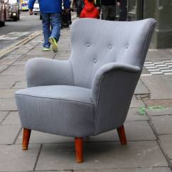 Small Scale Upholstered Dining Chairs 24 Inch Seat Height Beautiful Grey Wingback Armchair At 1stdibs