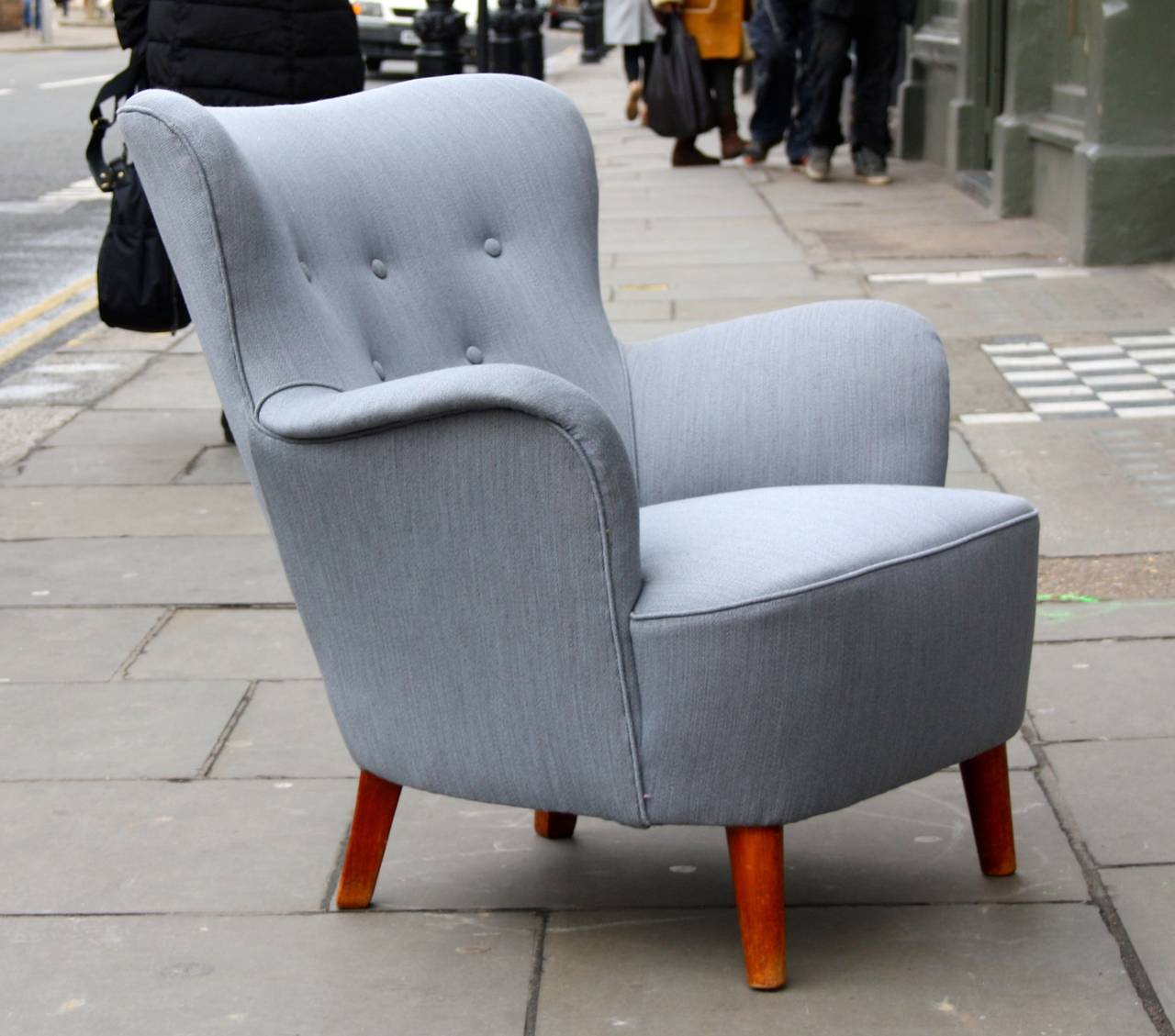 small scale upholstered dining chairs ergonomic chair good posture beautiful grey wingback armchair at 1stdibs