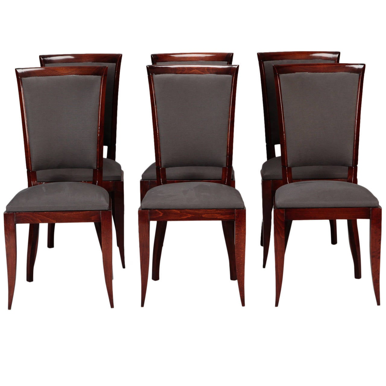 art deco kitchen chairs bedroom chair with skirt set of six french dining at 1stdibs