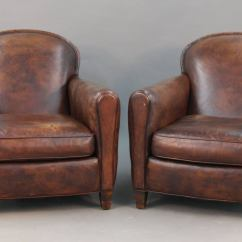 Art Deco Style Club Chairs Pilates Chair Exercises For Seniors Pair Of Leather At 1stdibs