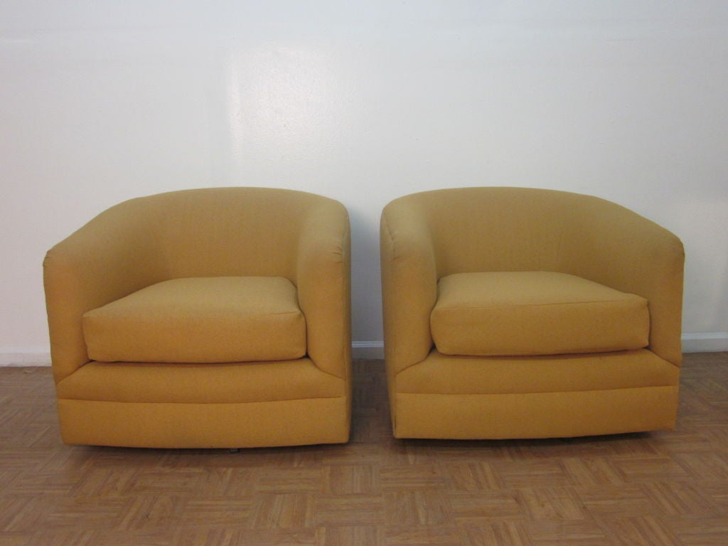 barrel swivel chairs upholstered tattoo for sale pair of back at 1stdibs