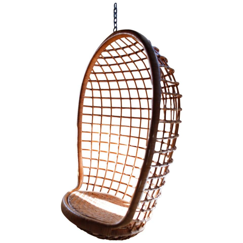 Rattan Hanging Egg Chair MidCentury at 1stdibs