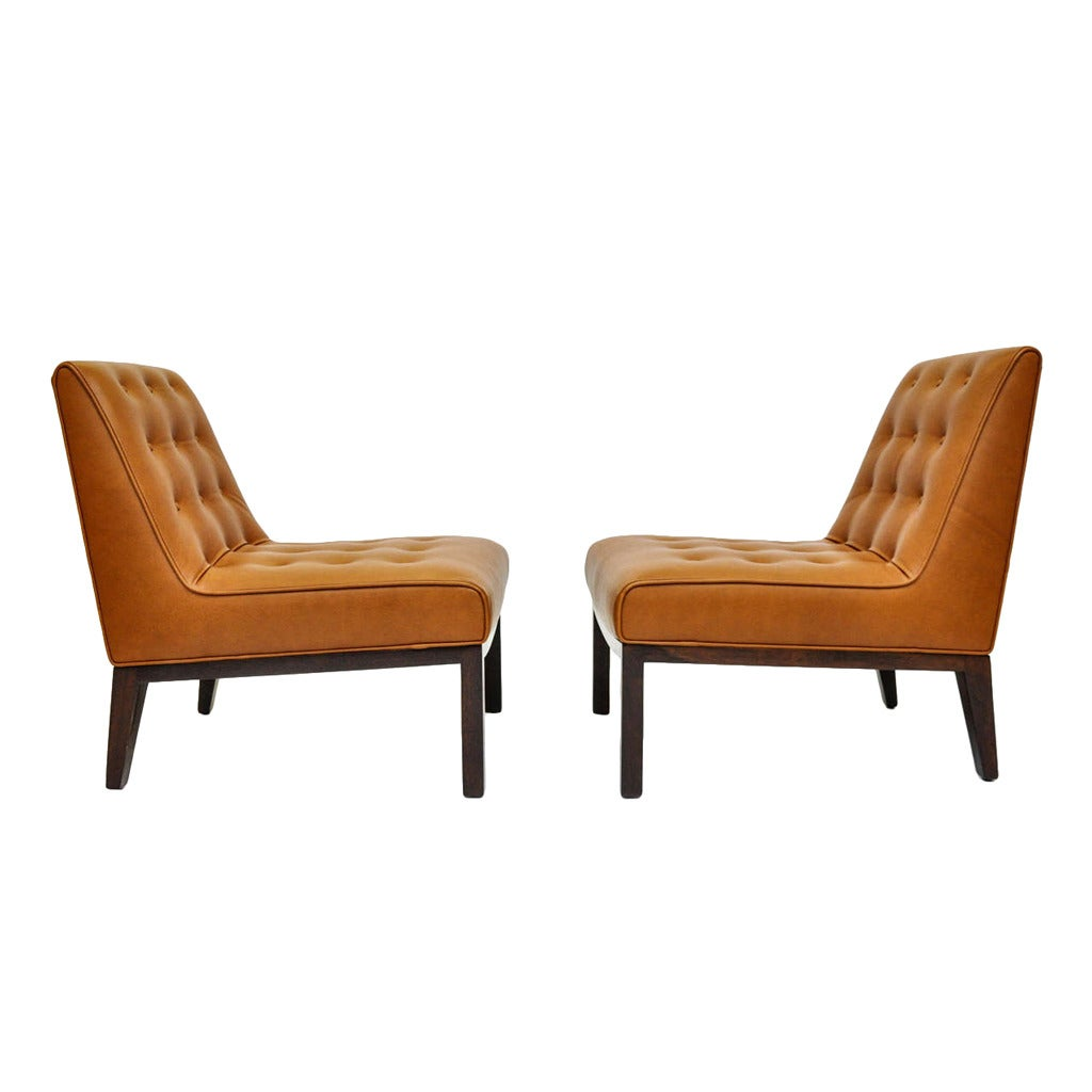 leather slipper chair chocolate hanging office chairs by edward wormley for dunbar at 1stdibs