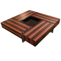 Chic Rosewood and Glass Large Square Coffee Table at 1stdibs