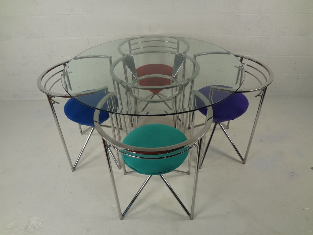 retro dining room table and chairs like dxracer 70s glass chrome image 2