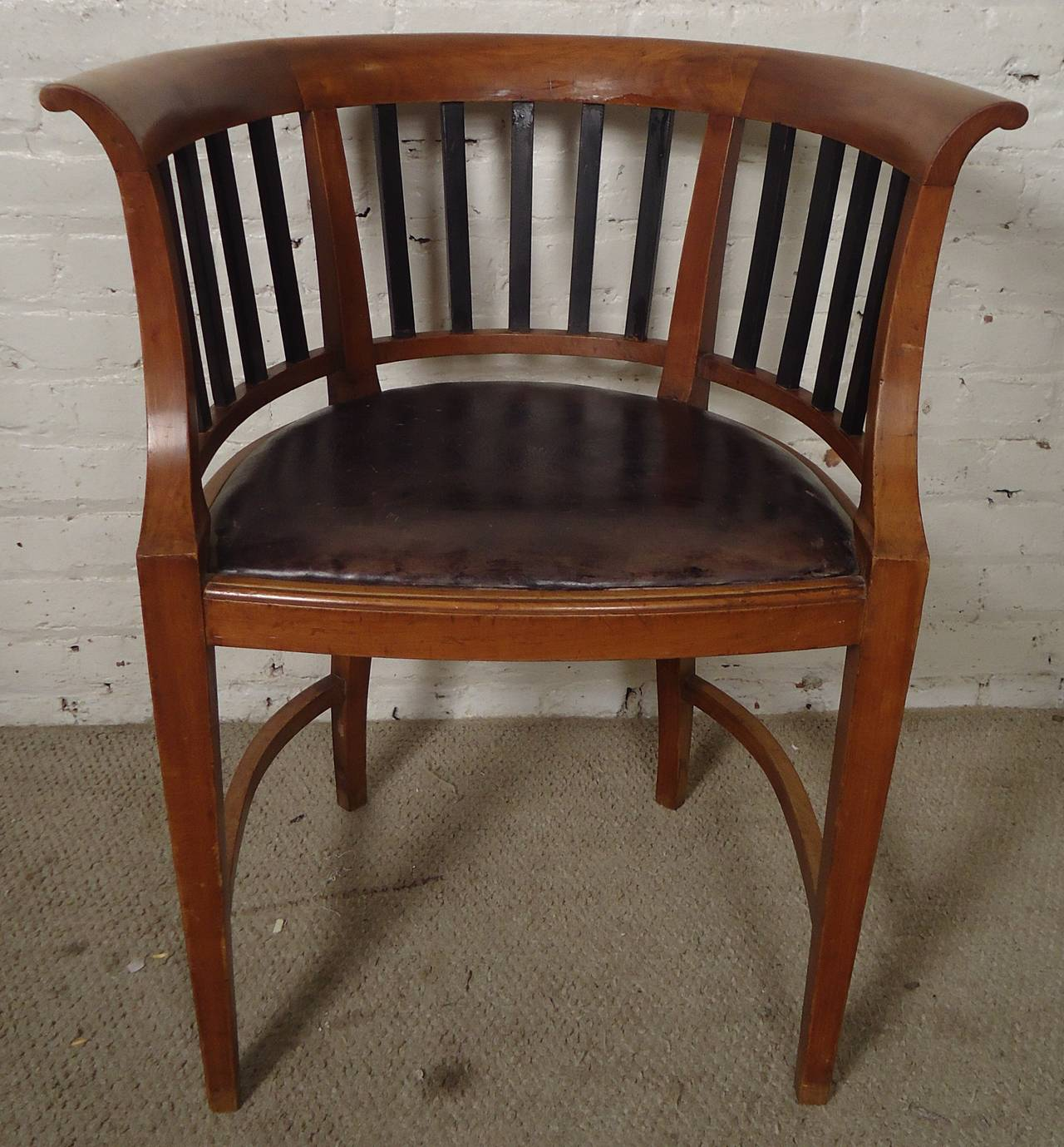 unique office chair posture perfect company vintage round back spindle at 1stdibs