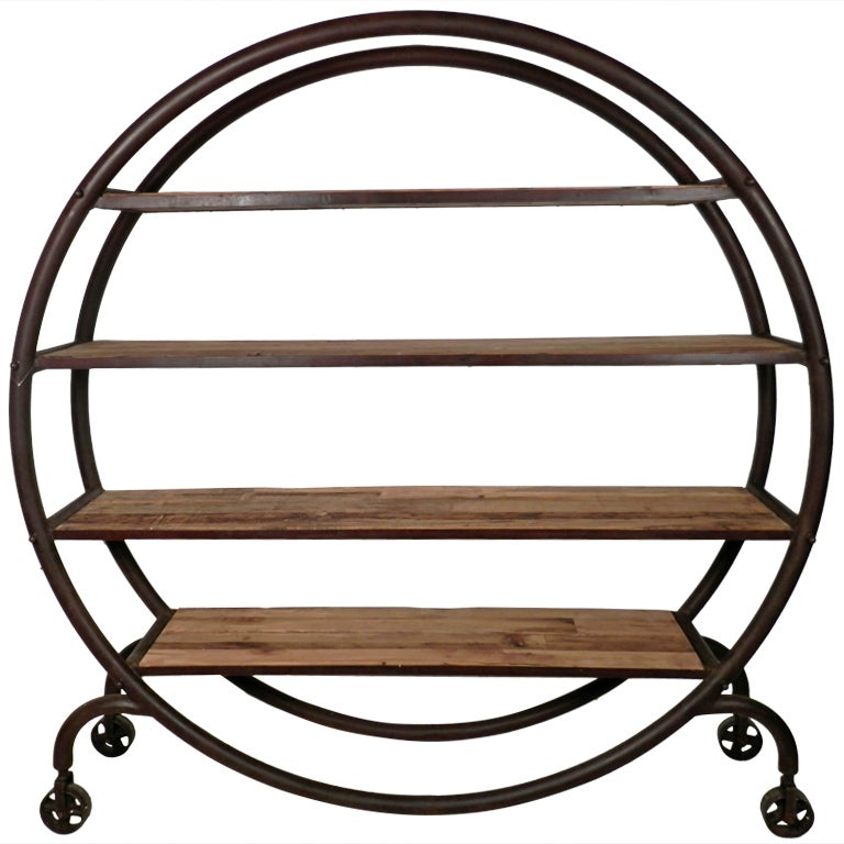 Large Industrial Metal Rolling Bookcase At 1stdibs