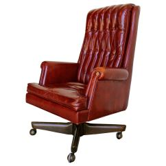 Distressed Leather Desk Chair Mid Century Dining Executive By Monteverdi