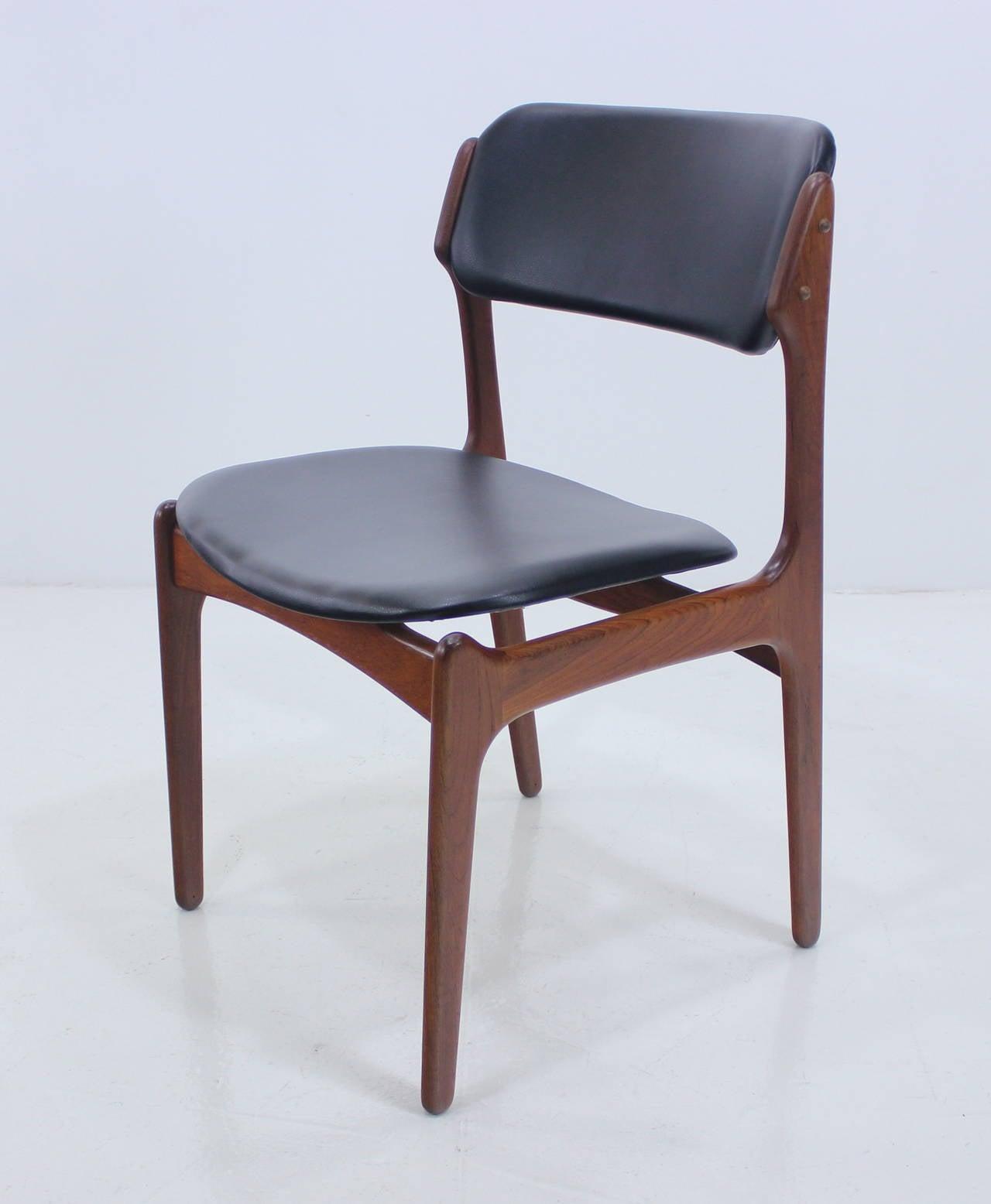 erik buck chairs wall hugger recliner chair rare set of eight danish modern teak dining