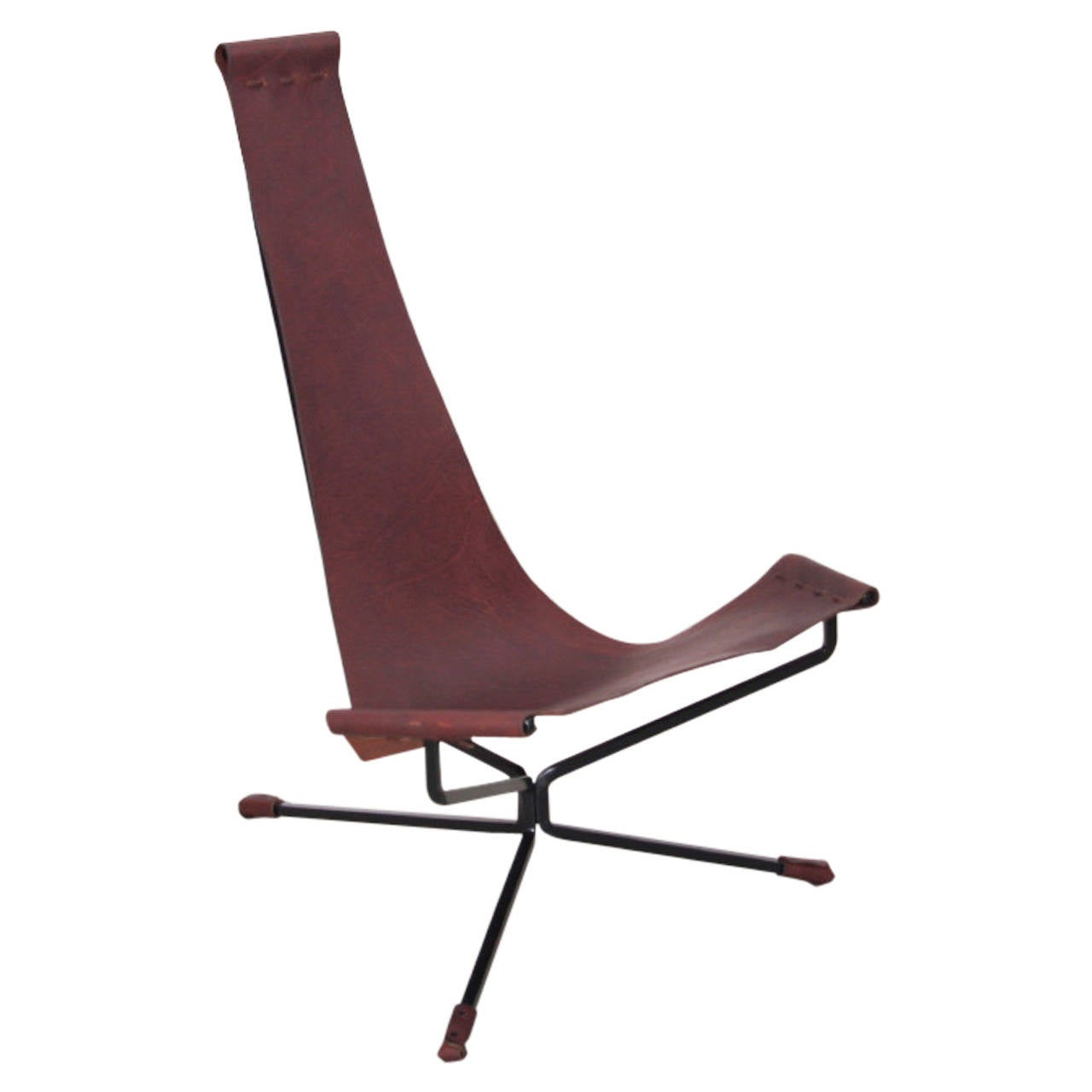 Wenger Chairs Dan Wenger Lotus Chair In Leather And Metal At 1stdibs