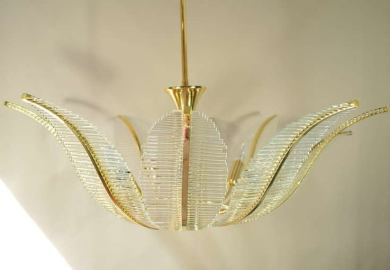Hollywood Regency Chandelier Lamp Glass Leaves Brass Carl