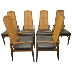 Cane Back Dining Room Chairs Leather Swivel Chair Modern Six Walnut Foster And Mcdavid Mid